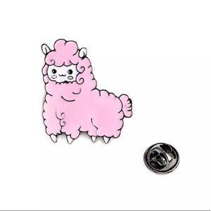 Pink Fluffy Sheep Enamel Brooch Pin